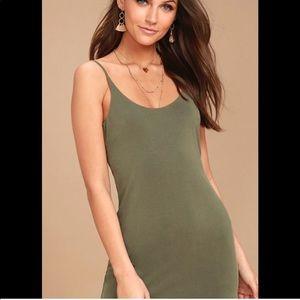 LULUS low back olive green mini dress